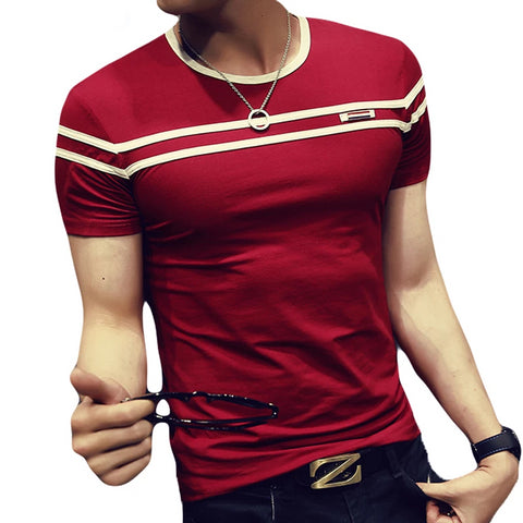 Young Mens Lightweight and Breathable Fashion Striped T-Shirt