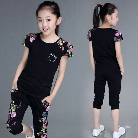 Girls Toddler and Kids Flower Print Two Piece Outfit