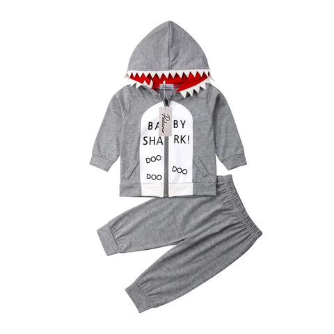 Unisex Infant and Toddler Shark Hoodie and Jogger Outfit