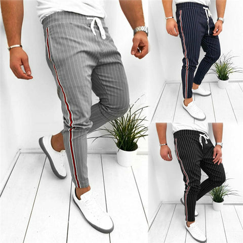 Young Men's Slim Fit Pinstripe Joggers