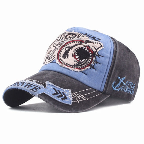 Unisex Embroidered Shark Attack Baseball Cap