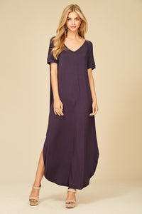 Love In Short Sleeve Relaxed Slit Long Maxi Dress with Pockets in Slate
