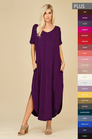 Love In Short Sleeve Relaxed Slit Long Maxi Dress with Pockets color anthra dark purple in Plus Size