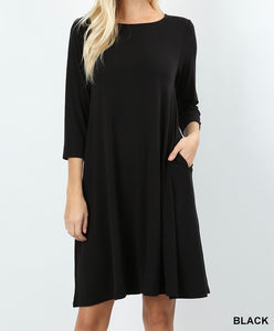 Knee Length Flare Dress in Black With Pockets Crop 3/4 Length Sleeves