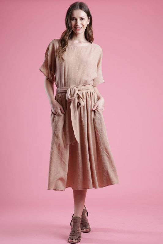Love In Two Pieces Set Top and tie stretch waist Skirt in color Latte