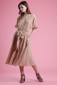 Cotton Two Pieces Set shirt and midi Skirt in color Latte