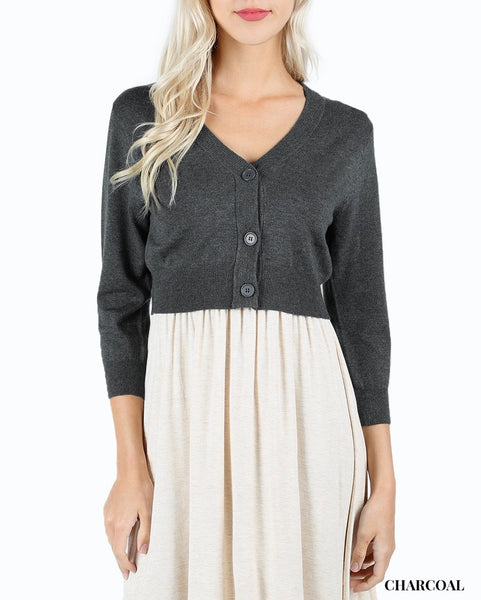 Button Front Crop Cardigan Sweater With 3/4 Length Sleeves In Grey