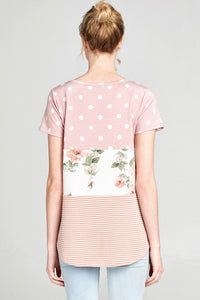 ODDI french terry knit top with multi print polka dot, floral, and stripe tiered pattern in dusty pink color