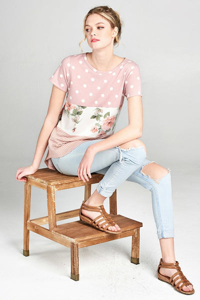 ODDI french terry knit top with multi print polka dot, floral, and stripe tiered pattern in dusty pink