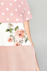 ODDI french terry knit top with multi print polka dot floral and stripe 3 tier pattern in dusty pink