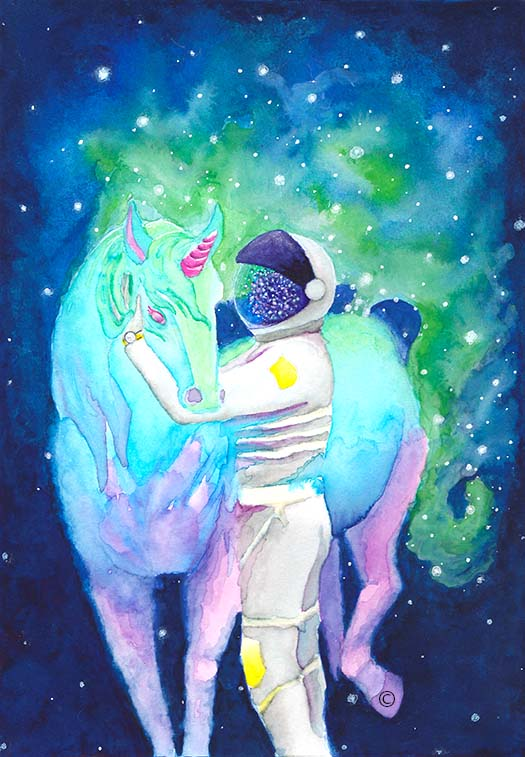Watercolor of Unicorn Meeting Astronaut