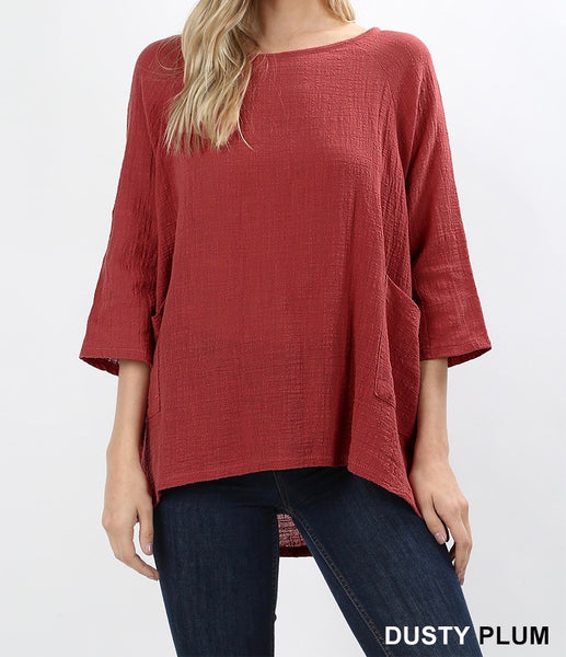 Zenana Gauze top with pockets in high low hem in dusty plum