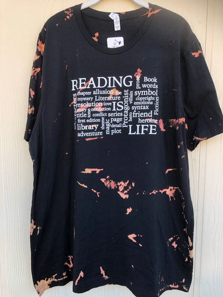 Reading is Life Reverse Dye Shirt