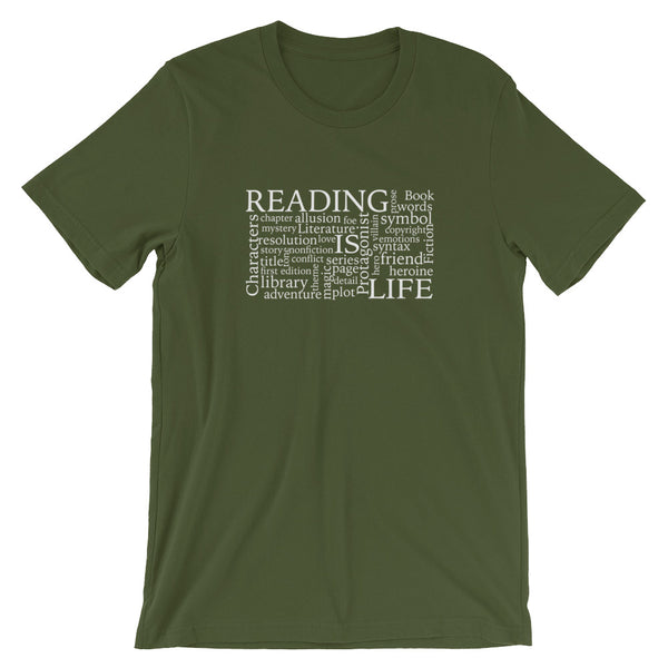 Reading Is Life Most Commonly Written Words Group printed olive color t-shirt