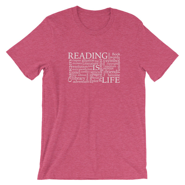 Reading Is Life Most Commonly Written Words Group printed heather raspberry t-shirt