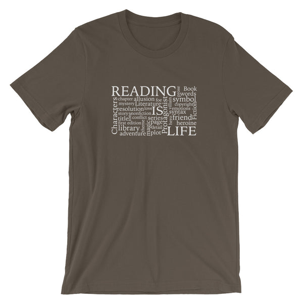 Reading Is Life Most Commonly Written Words Group printed army color t-shirt