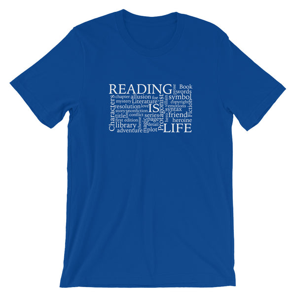 Reading Is Life Most Commonly Written Words Group printed t-shirt color true royal blue