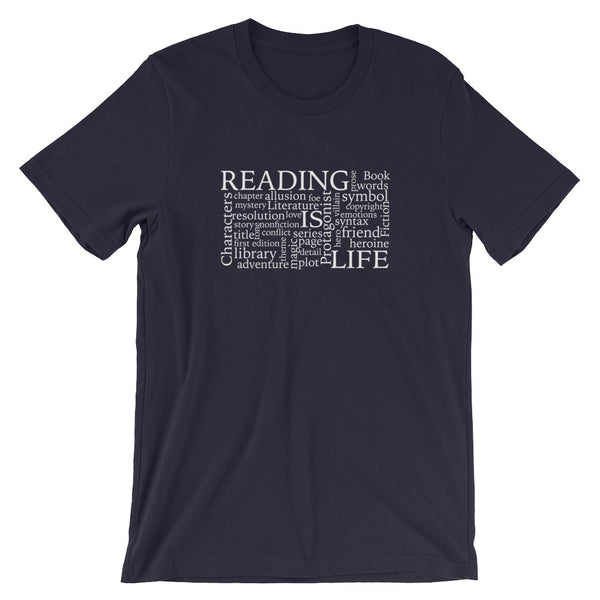 Reading Is Life Most Commonly Written Words Group printed t-shirt color navy