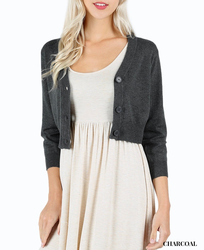 Button Up Cropped Cardigan Sweater With 3/4 Length Sleeves In Grey