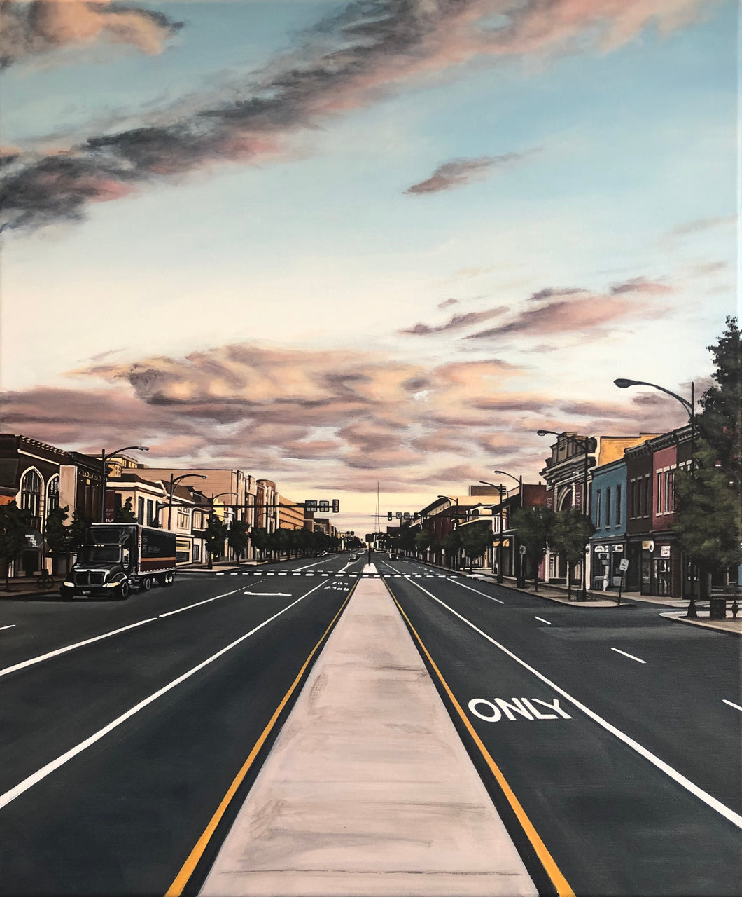 "Sundown on Broad, 24""x20"""