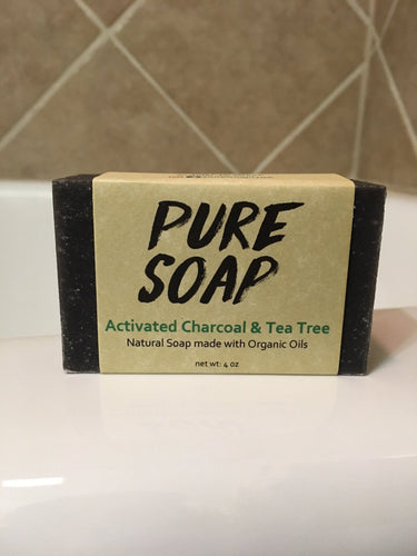 activated charcoal tea tree natural organic bar soap