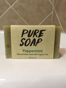 natural organic peppermint bath and body bar soap