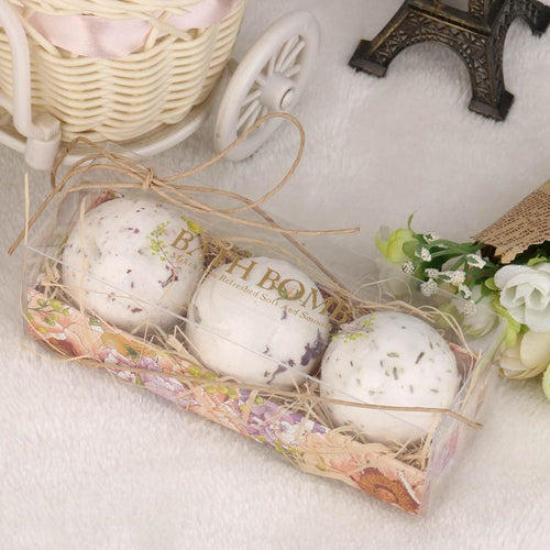 3Pcs Lavender Bath Bombs | Natural Sea Salt Lavender Rose Bath Bombs