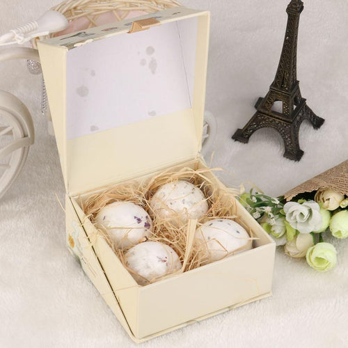 4pcs Bath Bomb Ball Lavender Handmade Sea Salt, Dried Flowers
