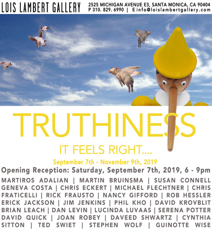 Truthiness Exhibit At Lois Lambert Gallery Group Show Featuring Rick Frausto And His Don The Con Drawing