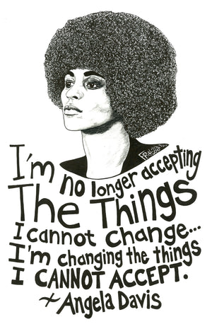 Inspirational Angela Davis Drawing Portrait With Quote Original Pen And Ink Illustration By Rick Frausto Fine Art