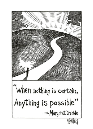 Anything Is Possible Original Drawing Pen And Ink Illustration By Artist Rick Frausto