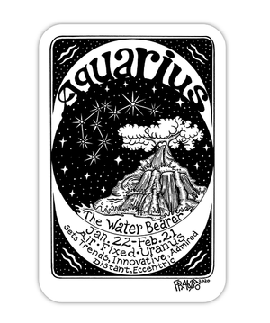 Aquarius Zodiac Art Eco Friendly Sticker By Rick Frausto Fine Art