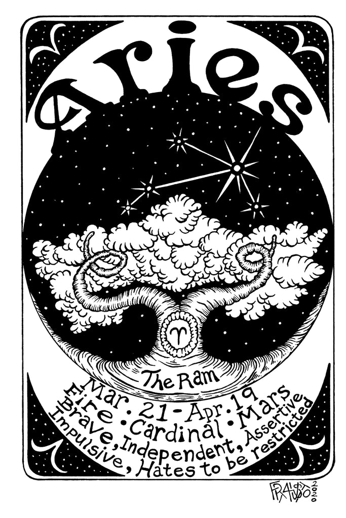 Astrological Art Aries Zodiac Original Drawing Illustration By Artist Rick Frausto