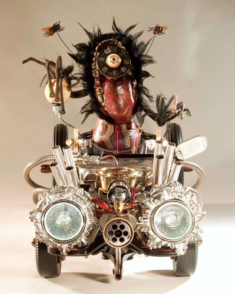 artist rick frausto's multimedia sculpture the hot rod rat fink kustom car kulture inspired