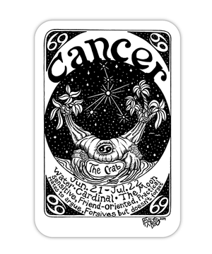 Cancer Zodiac Art Eco Friendly Sticker By Rick Frausto Fine Art