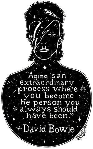 Inspirational David Bowie Original Art About Aging Quote Pen And Ink Drawing By Rick Frausto