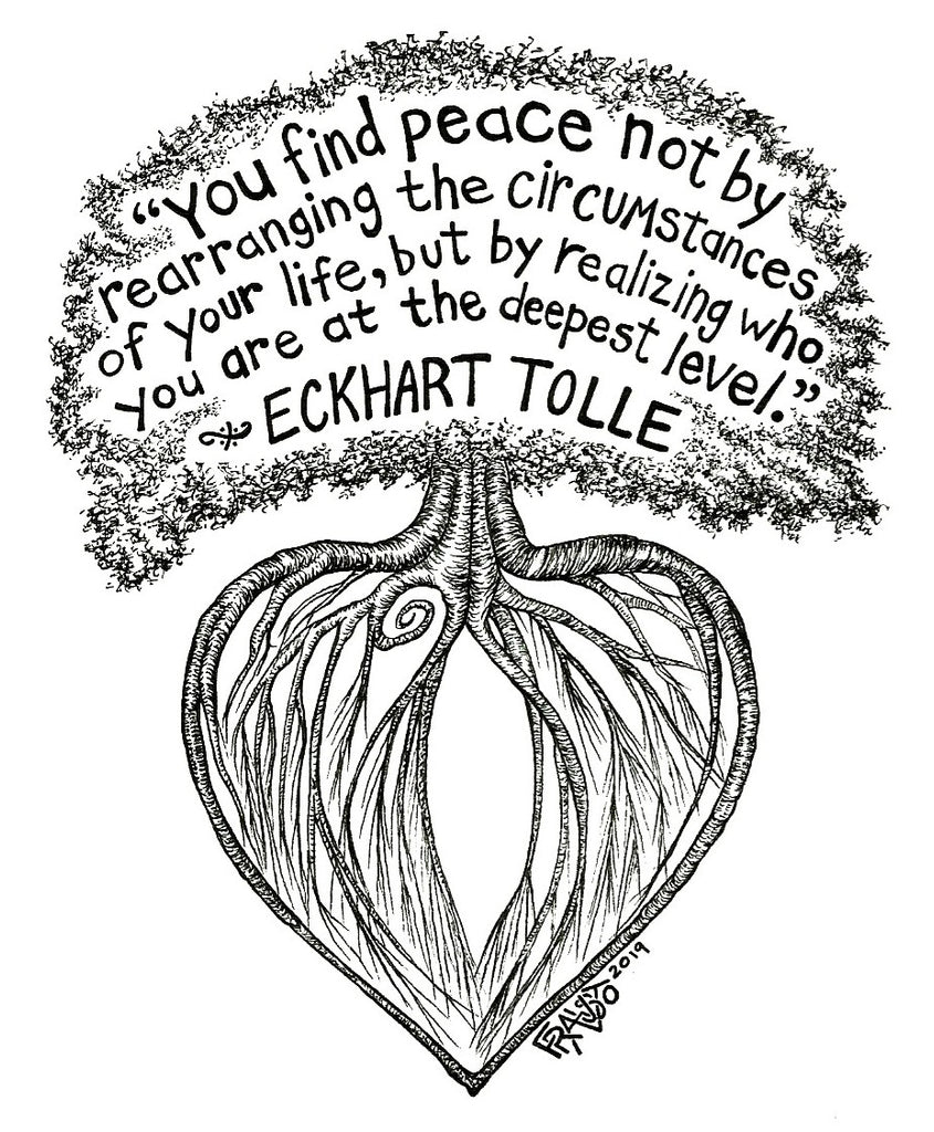 Eckhart Tolle Quote Inspirational Art Original Tree Drawing By Rick Frausto
