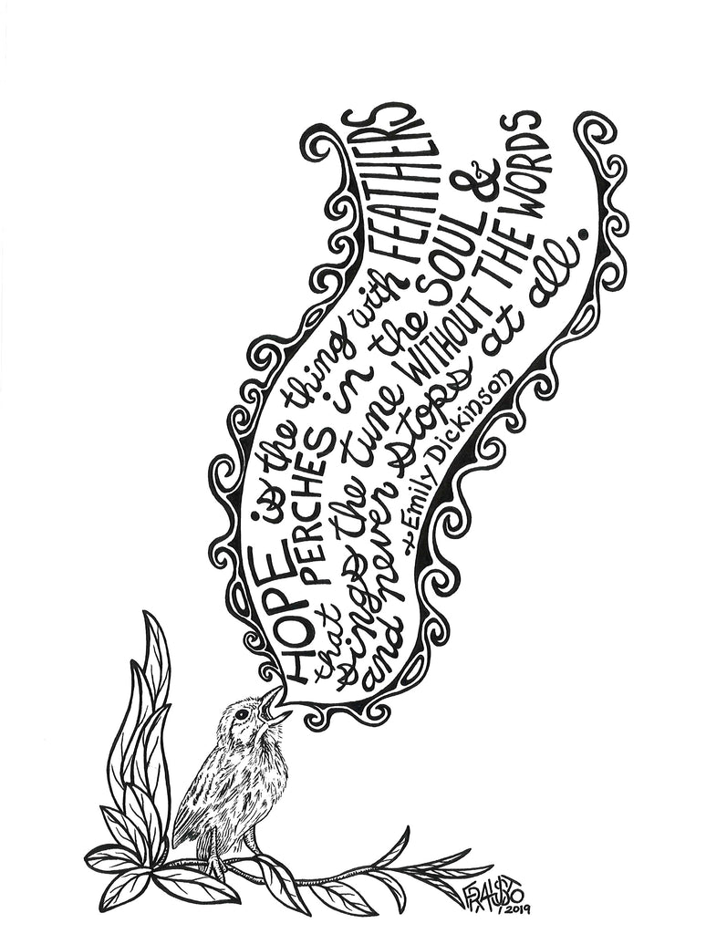 Emily Dickinson Hope Drawing Rick Frausto Fine Art Original Pen And Ink Illustration Black And White