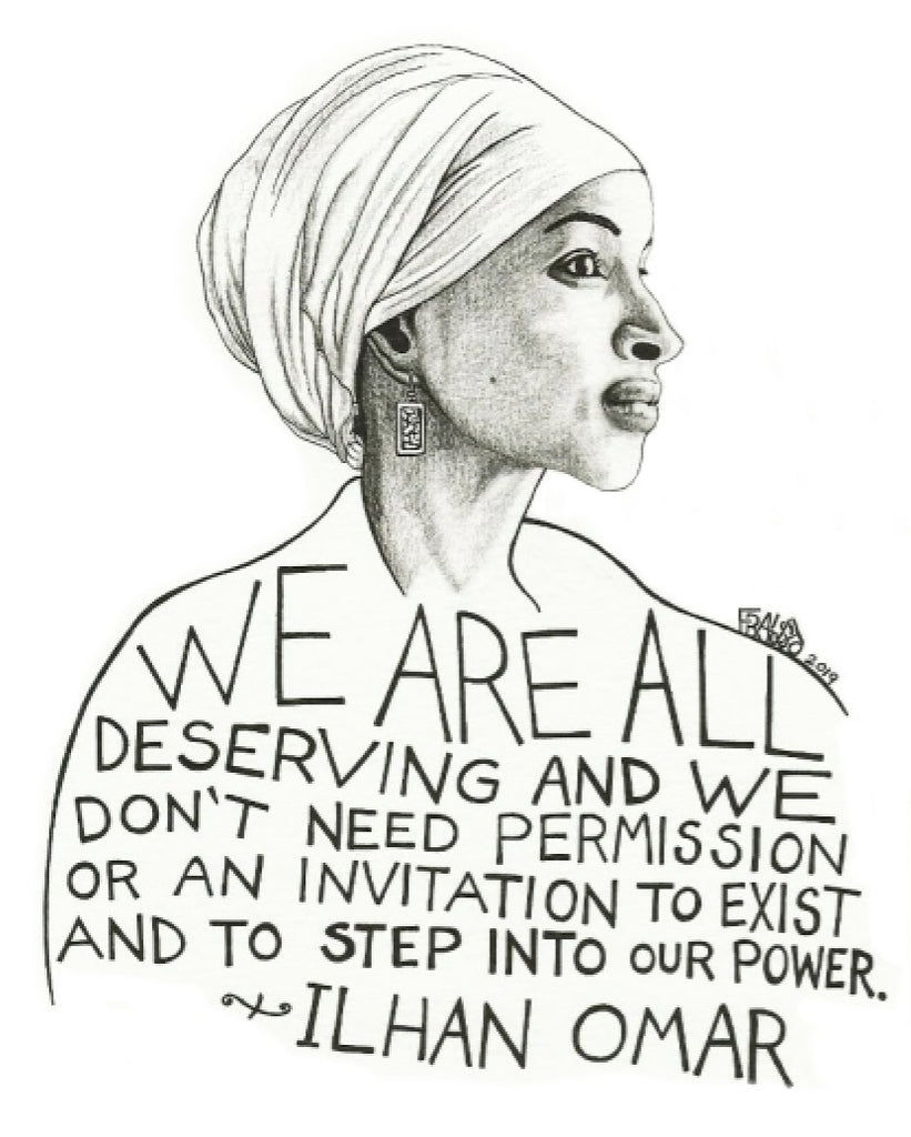 Ilhan Omar Portrait Original Drawing Pen And Ink Illustration By Rick Frausto Fine Art