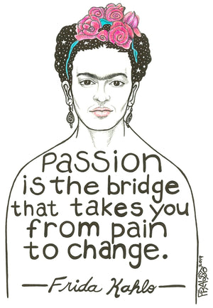 Inspirational Frida Kahlo Portrait Quote Original Art Pen And Ink Illustration Drawing By Rick Frausto