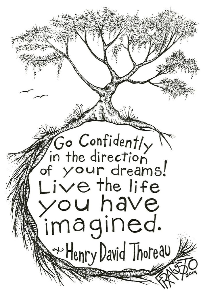 Inspirational Henry David Thoreau Tree Drawing With Quote Original Pen And Ink Illustration By Rick Frausto