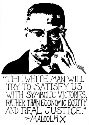Inspirational Malcolm X Quote On Original Drawing Pen And Ink Illustration By Rick Frausto Fine Art