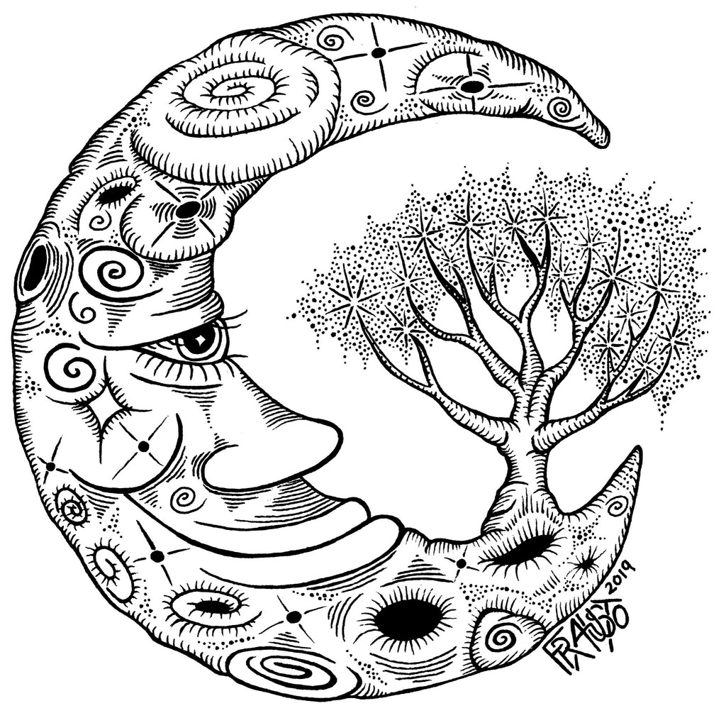 Inspirational Moon Art Original Tree Drawing Pen And Ink Illustration By Artist Rick Frausto