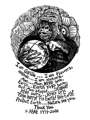 Inspirational Nature Art Koko The Gorilla Tribute Portrait Pen And Ink Illustration Original Drawing By Rick Frausto