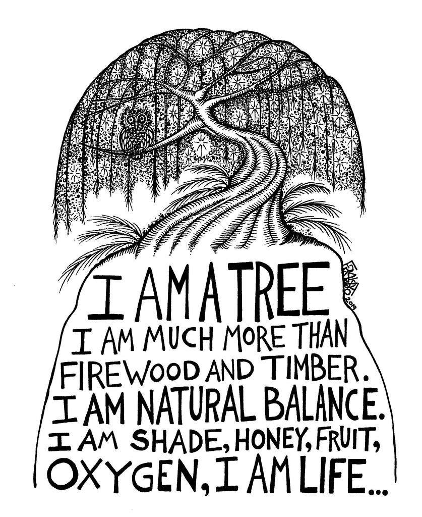 Inspirational Tree Art Original Drawing Pen And Ink Illustration By Rick Frausto