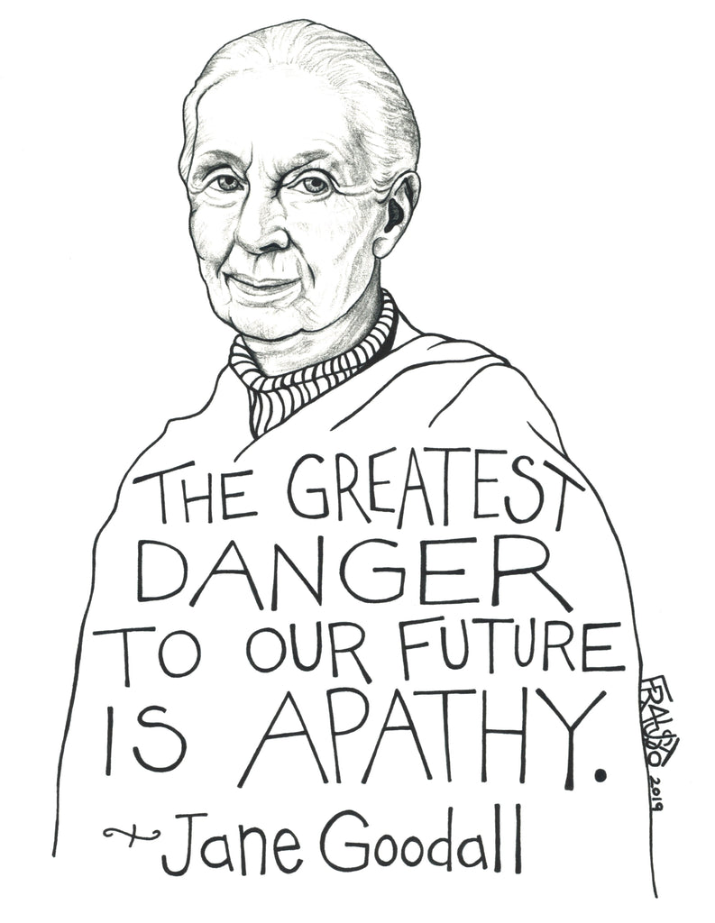 Jane Goodall Inspirational Art Quote Original Drawing Pen And Ink Illustration By Rick Frausto