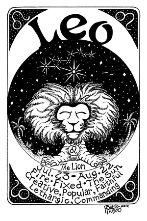 Astrology Zodiac Leo Art Original Drawing Pen And Ink Illustration By Rick Frausto.jpg