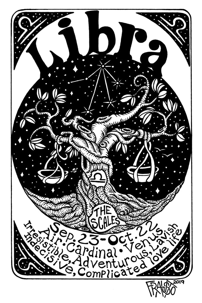 Libra Zodiac Astrology Art Original Drawing Pen And Ink Illustration By Artist Rick Frausto
