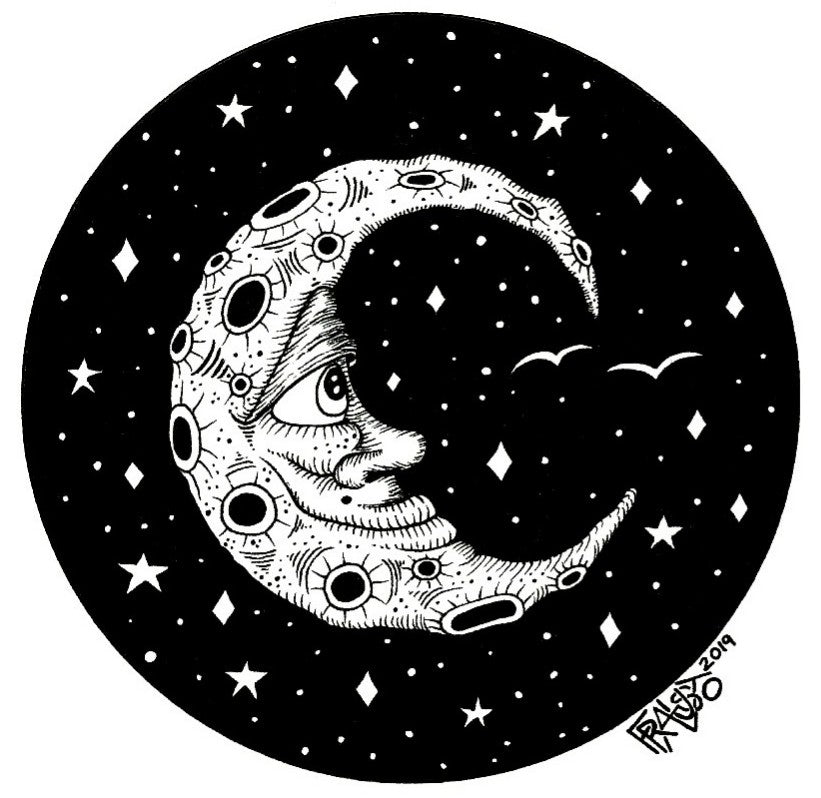 Man In The Moon Drawing Rick Frausto Fine Art Original Drawing Pen And Ink Illustration Crescent Moon Art
