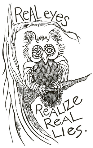 "Owl Eyes Tree Drawing - 6"" X 9"""
